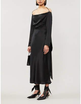 MATÉRIEL Cowl-neck silk-satin midi dress