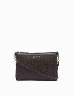 Calvin Klein Monogram Logo Jacquard Shoulder Zip Bag