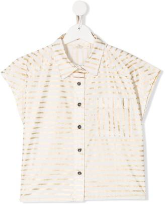 Andorine TEEN metallic-stripe shirt