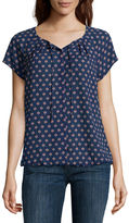 Liz Claiborne Short-Sleeve Button-Front Blouse