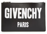 Givenchy Logo Print Calfskin Leather Pouch - Black