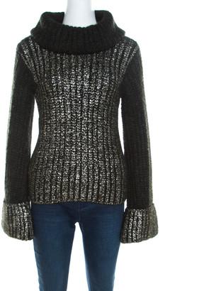 Escada Green Foil Printed Mohair Blend Turtleneck Sweater M