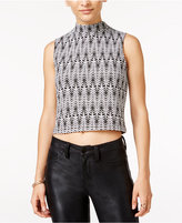 Material Girl Juniors' Printed Mock-Neck Crop Top, Only at Macy's