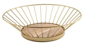 Thirstystone Closeout! Gold Wire Bowl with Wood Base