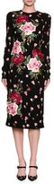 Dolce & Gabbana Long-Sleeve Rose-Embroidered Charmeuse Sheath Dress, Black
