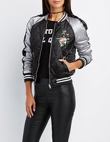 Charlotte Russe Quilted Embroidered Bomber Jacket