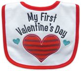 "Hamco My First Valentine's Day"" Applique Bib in Red/White"