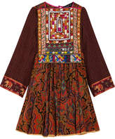 Etro Embroidered Printed Wool Mini Dress - Brown