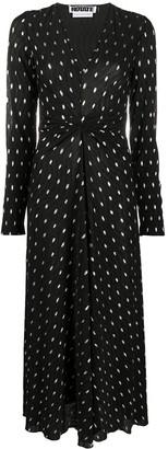 Rotate by Birger Christensen V-neck ruched polka dot print dress