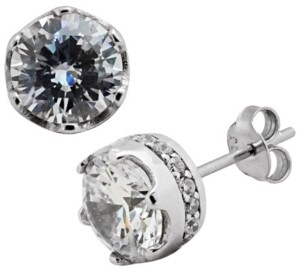 Sutton by Rhona Sutton Sutton Sterling Silver Round Stud Earrings With Cubic Zirconia Trim
