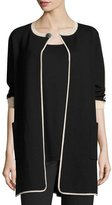 Joan Vass Contrast-Trim 3/4-Sleeve Long Jacket, Black/Multi