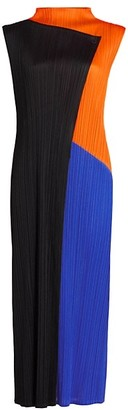 Pleats Please Issey Miyake Collage Colorblock Sleeveless Maxi Dress