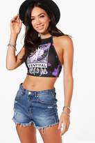 boohoo Holly Bleached Festival Print Halter Crop