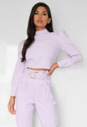 Missguided Co Ord High Neck Puff Sleeve Denim Top