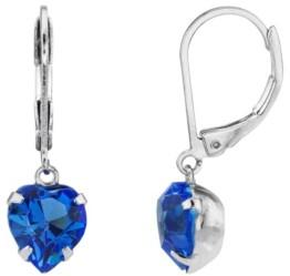 2028 Silver-Tone Crystal Heart Drop Earrings