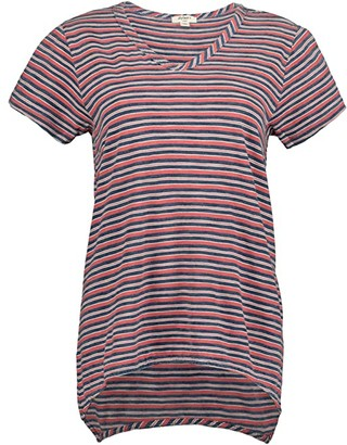 True Grit Dylan by True Blues Vented V-Neck T-Shirt in Camp Stripe (Indigo/Red) Women's Clothing