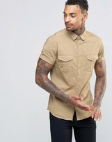 Asos Skinny Military Shirt In Stone With Short Sleeves