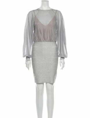Herve Leger Crew Neck Mini Dress w/ Tags Silver