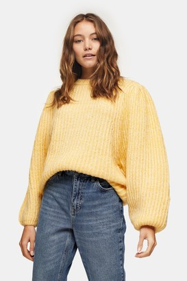 Topshop Womens Yellow Statement Sleeve Knitted Jumper - Yellow