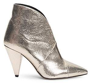 Isabel Marant Women's Archenn Snakeskin-Embossed Metallic Leather Ankle Boots