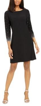 MSK Embellished-Sleeve Sheath Dress