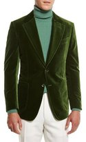 Tom Ford Shelton Base Velvet Sport Jacket, Grass Green