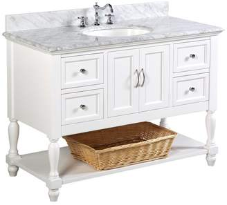 "Kitchen Bath Collection Beverly Bath Vanity, Base: White, 48"", Top: Carrara Marble"