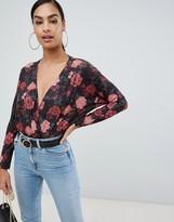 Asos Design DESIGN long sleeve batwing wrap body in floral print