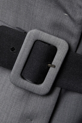 Fendi Off-the-shoulder Belted Ombre Wool Coat - Black