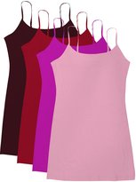 Active Products Active Basic Women's Basic Casual Plain Camisole Cami Top Tank Junior and Plus Sizes - 4 Pack Pack Deal