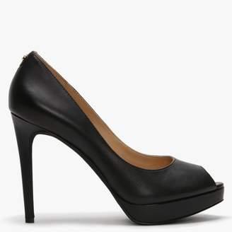 Michael Kors Eric Black Leather Peep Toe Platforms