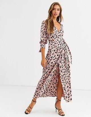 Liquorish wrap front maxi dress in pink leopard print