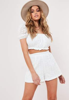 Missguided White Co Ord Broderie Shorts