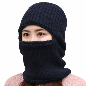 Mitlfuny Unisex Couple Winter Plush Lined Warm Scarf Neckerchief Hat Collar Hiking Hat Head Cap Size Fit Most People Navy