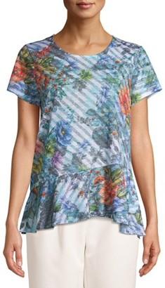 Time and Tru Women's Short Sleeve Peplum Sublimation T-Shirt
