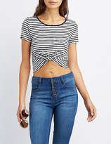 Charlotte Russe Striped Ringer Knotted Tee