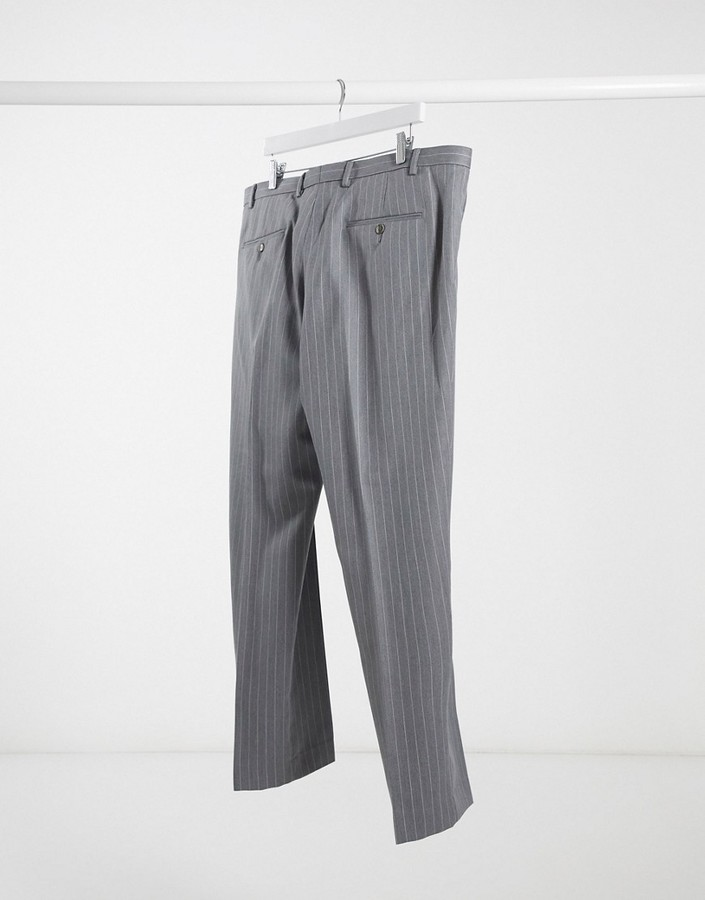 Thumbnail for your product : Burton Menswear Big & Tall skinny suit trousers in grey & pink stripe