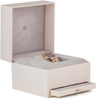 Amanda Walker Kate Silver Sunray and Rose Gold Detail Dial Nude Leather Strap Ladies Watch