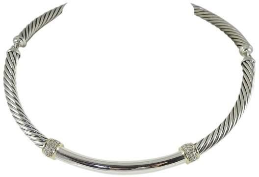 David Yurman Sterling Silver & 18K Yellow Gold 0.42tcw Diamond Metro Cable Necklace