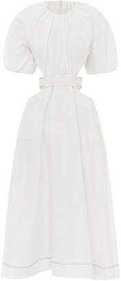 Aje Mimosa Cutout Linen And Silk-Blend Midi Dress