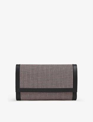 LK Bennett Dayana linen and leather clutch bag