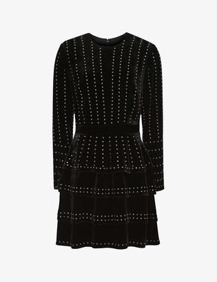 Reiss Angie stud-detail velvet mini dress