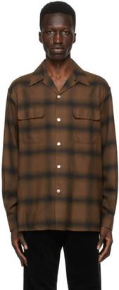 Wacko Maria Brown Check Open Collar Shirt