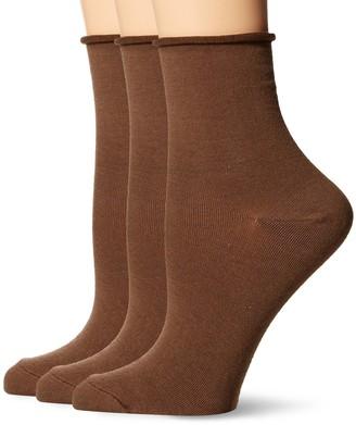 Hue Women's Roll Top Shortie Sock (Pack of 3)