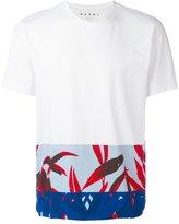 Marni pattern trim T-shirt - men - Cotton - 50