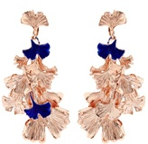 Aurelie Bidermann Ginkgo lacquered rose gold-plated clip-on earrings