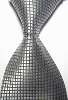 Pisces.goods New Gray Checked Jacquard Woven Men's Tie Necktie