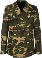 Balmain camouflage double-breasted coat