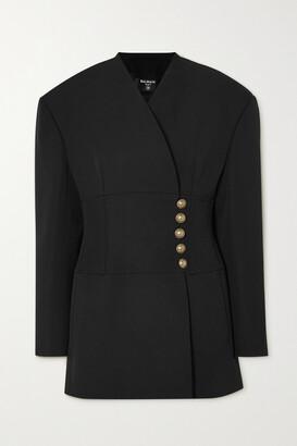 Balmain - Button-embellished Wool-crepe Wrap Blazer - Black