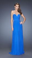 La Femme Elegant Sweetheart Jersey Gown in Blue 20048